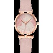 Small Lady Leaf Pattern Ladies Quartz Watch Trend Thin Belt Casual Watch - 手表 -