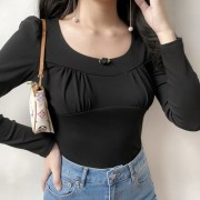 Small chest slimming U-neck black shirt - T-shirts - $27.99