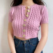Small round neck twist short sleeve sweater cardigan high waist sweater - Hemden - kurz - $27.99  ~ 24.04€