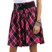 Soft Cotton Plaid Above the Knee Pleated Skirt with Wide Belt ( Choose Fuschia or Turquoise ) - Clearance Sale ! Turquoise Plaid - Skirts - $19.99