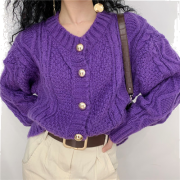 Solid color collar cardigan knit sweater - Pullovers - $29.99