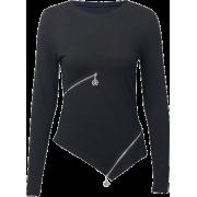 Solid color irregular zipper bottoming shirt female dark long sleeve top - Hemden - kurz - $25.99  ~ 22.32€