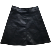 Solid color leather skirt A short skirt - Skirts - $25.99