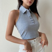 Solid color polo collar halter vest short thread backless top - Camisa - curtas - $27.99  ~ 24.04€