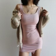 Solid color split vest vest hip skirt dr - Vestidos - $25.99  ~ 22.32€