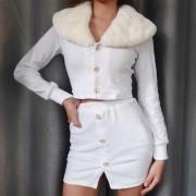 Solid fur collar cardigan top package hi - Vestidos - $27.99  ~ 24.04€