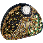 Sophisticated Half-moon Handmade Seed Beaded Emerald Gems Rhinestone Closure Hard Case Clutch Evening Handbag Purse w/Hidden Chain - Clutch bags - $59.50