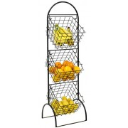 Sorbus 3-Tier Wire Market Basket Storage Stand for Fruit, Vegetables, Toiletries, Household Items, Stylish Tiered Serving Stand Baskets for Kitchen, Bathroom Organization (3 Tier Basket - Black) - Accessories - $41.99