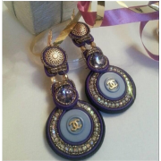Soutache earrings, authentic (stamp back - Background -