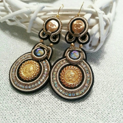 Soutache earrings with gilded authentic  - Background -