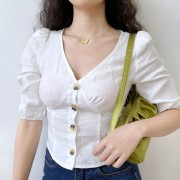 South French style linen pastoral one-breasted V-neck puff sleeve five-point sle - Srajce - kratke - $35.99  ~ 30.91€