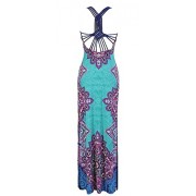 Spider Web Crochet Back Ethnic Print Maxi Dress - Dresses - $43.99