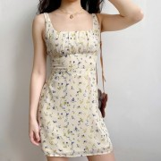 Square Collar Floral Waist Camisole Skirt Seaside Vacation Dress - Kleider - $27.99  ~ 24.04€