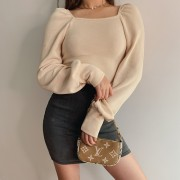 Square Collar Pullover French Lazy Puff- - Majice - kratke - $27.99  ~ 24.04€