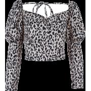 Square Collar Short Slim Strap Puff Slee - Long sleeves shirts - $25.99