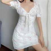 Square collar puff sleeve bow chiffon floral dress - 连衣裙 - $28.99  ~ ¥194.24