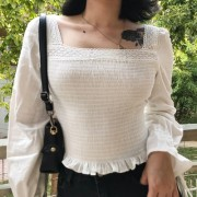 Square collar short section high waist p - Shirts - $25.99