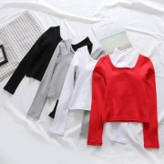 Square collar thread solid color long-sleeved T-shirt women's slim top - Shirts - $25.99