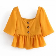 Square collar vintage buttoned pleated s - T-shirts - $25.99