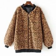 Stand Collar Zipper Leopard Jacket Stand - Jacket - coats - $45.99