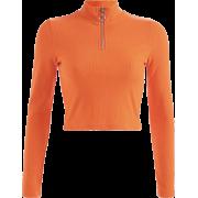 Stand collar zipper short long sleeve ca - T-shirts - $17.99