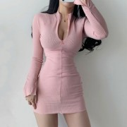 Stand-up collar solid color girly zipper bag hip was thin sexy wild long-sleeved - Dresses - $25.99