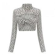 Star Print Tie Openwork Long Sleeve Top - Shirts - $15.99