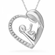 Sterling Silver Round Diamond Mom and Child Heart Pendant (0.12 cttw) - Ciondoli - $75.00  ~ 64.42€