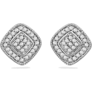 Sterling Silver Round Diamond Square Fashion Earring (0.20 CTTW) - Earrings - $69.50