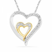 Sterling Silver With Yellow Plated Round Diamond Double Heart Pendant (1/10 cttw) - Pendants - $59.98