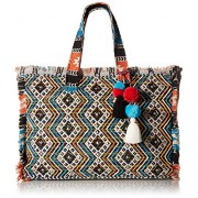 Steve Madden Womens Keegs Multi Colored Beaded Embroidered Tote Handbag - Hand bag - $64.99