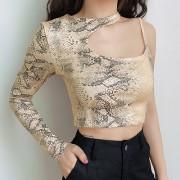 Straight shoulder snake pattern hollow - Shirts - $17.99