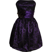 Strapless Lace Overlay Satin Bubble Prom Dress Black-Purple - Dresses - $99.99