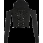 Strap long-sleeved T-shirt hollow corns - Košulje - kratke - $25.99  ~ 22.32€