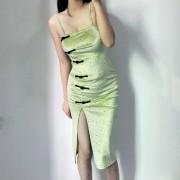Strap velvet long skirt retro improved side side slit split sexy cheongsam tube - 连衣裙 - $27.99  ~ ¥187.54