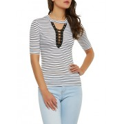 Striped Lace Up Keyhole Top - Top - $7.99