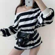 Striped colorblock thin section loose sh - My look - $35.99