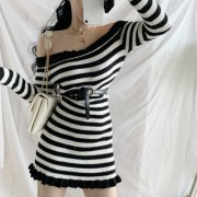 Striped color long sleeve knit dress wit - My look - $29.99