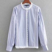 Striped openwork embroidered shirt - Camisas manga larga - $28.99  ~ 24.90€