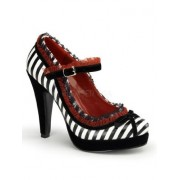 Stripped Red Lace Trim Mary Janes - 5 - Shoes - $49.30
