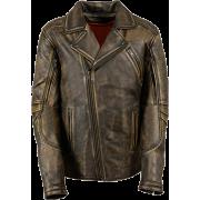 Stylish Mens Brown Biker Retro Distressed Leather Jacket - Jacket - coats - 221.00€  ~ $257.31