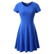 Suimiki Women's Casual Round Neck Short Sleeve Pleated Midi Dress - Vestidos - $17.99  ~ 15.45€
