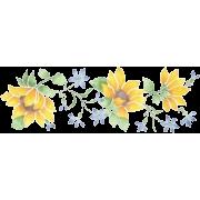 Sunflowers & Blue Floral Border Stencil - Illustrations -