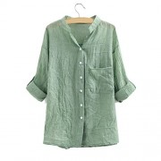 Sunglory Women Cuffed Long Sleeve Button Down Shirts Casual V Neck Blouses Tops by - Camisa - curtas - $9.99  ~ 8.58€