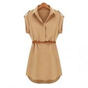 Sunglory Womens Cap Sleeve Stretch Chiffon Casual OL Shirt Mini Dress with Belt - Dresses - $8.99