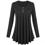 Sunglory Womens Long Sleeve Button Pleated Front A Line Flare Hem Tunic Tops by - Camisa - curtas - $11.99  ~ 10.30€