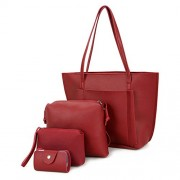 Sunglory Women's PU Leather Handbag Shoulder Bag Purse Card Holder 4pcs Set Tote - Accessories - $16.99