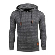 SweatyRocks Men's Solid Plaid Slim Fit Pullover Hoodies Drawstring Hooded Sweatshirt - 半袖シャツ・ブラウス - $24.99  ~ ¥2,813