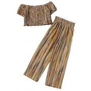 SweatyRocks Women's Boho 2 Piece Outfits Off Shoulder Pleated Crop Top with Wide Leg Pants - ジャケット - $19.99  ~ ¥2,250