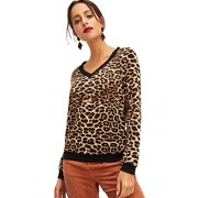 SweatyRocks Women's Casual V Neck Long Sleeve Leopard Sweatshirts Pullover Shirt Blouse Tops - My look - $14.99